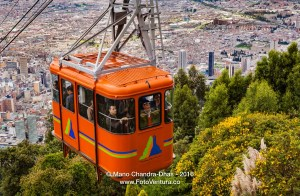 Bogota, Colombia - Cable Car approaching Andean peak of Monserrate