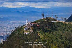 Colombia, South America - The peak of Monserrate and beyond viewed from Guadalupe.