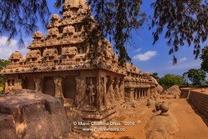 Mahabalipuram, India: 7th Century Rathas in Granite, in a row
