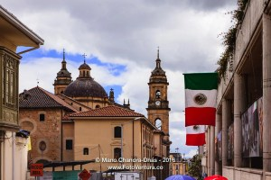 Bogota, Colombia: Looking upwards towards the Cathedral on Plaza