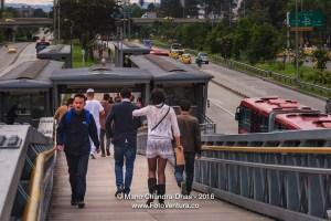 Bogotá, Colombia - TransMilenio station, Salitre El Greco on no-car day.