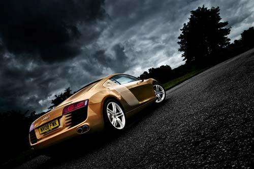 Audi R8 supercar gold wall print