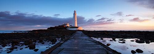 St Mary's Lighthouse panorama canvas art