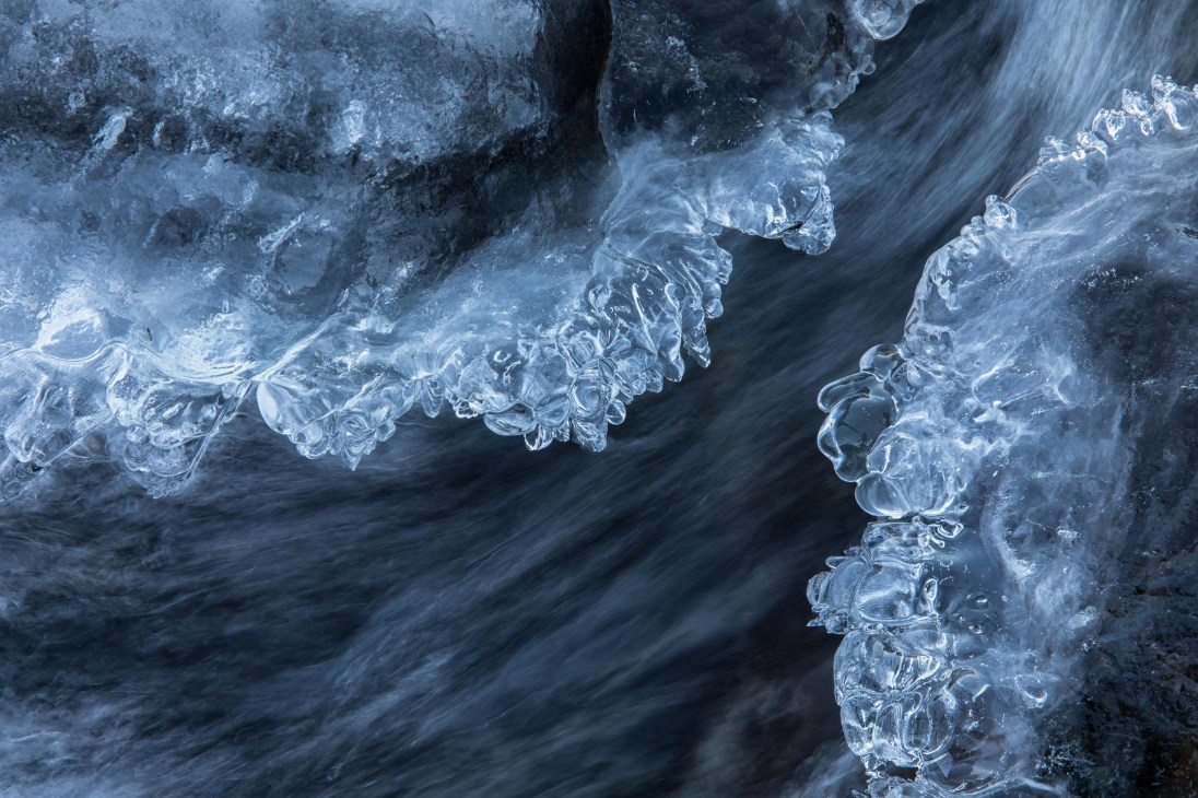 Ice and water. The river is slow freezing solid. Canon EOS 5D Mark IV with Canon EF24-70 f/2.8 II USM lens at 70mm, ISO 400, 1/13s at f/16. Tripod. October. © Oliver Wright
