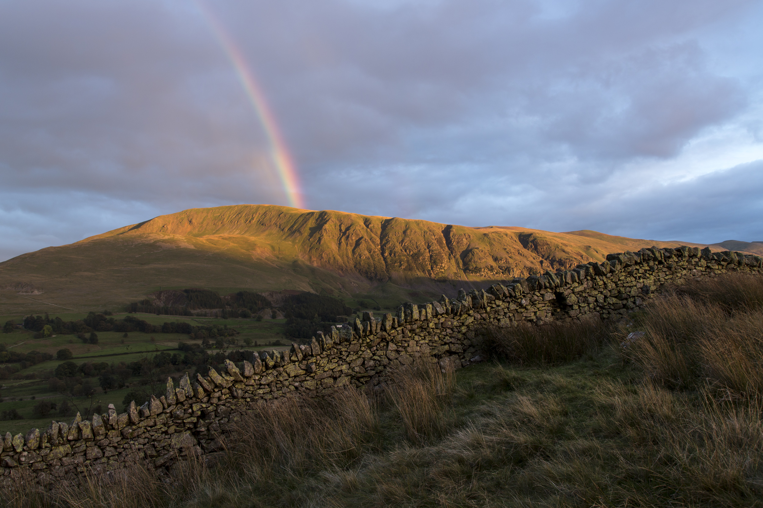 Rainbow over Clough Head on the Helvellyn range near Keswick in the Lake District.