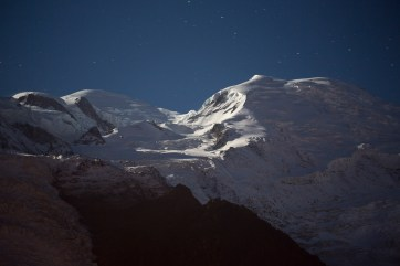 Moonlit Mt Blanc taken from our chalet, the camera resting on the balcony as I didn't have a tripod. Canon 5D MkIII, 70-300 at 128mm, ISO 500, 15 sec at f/4.5. © Stuart Holmes