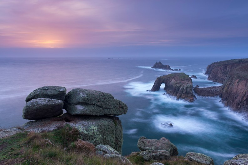 Sunset over the Atlantic near Land's End, Cornwall, England. Autumn (October) 2013. © Adam Burton