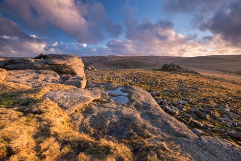 Rich evening sunlight bathes the moorland at Higher Tor in Dartmoor National Park, Devon, England. Winter (February) 2014. © Adam Burton