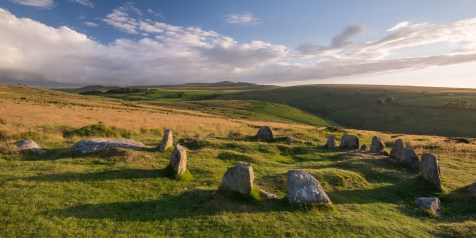 The Nine Maidens megalthic stone circle on Belstone Common, Dartmoor National Park, Devon, England. Summer (July) 2015. © Adam Burton