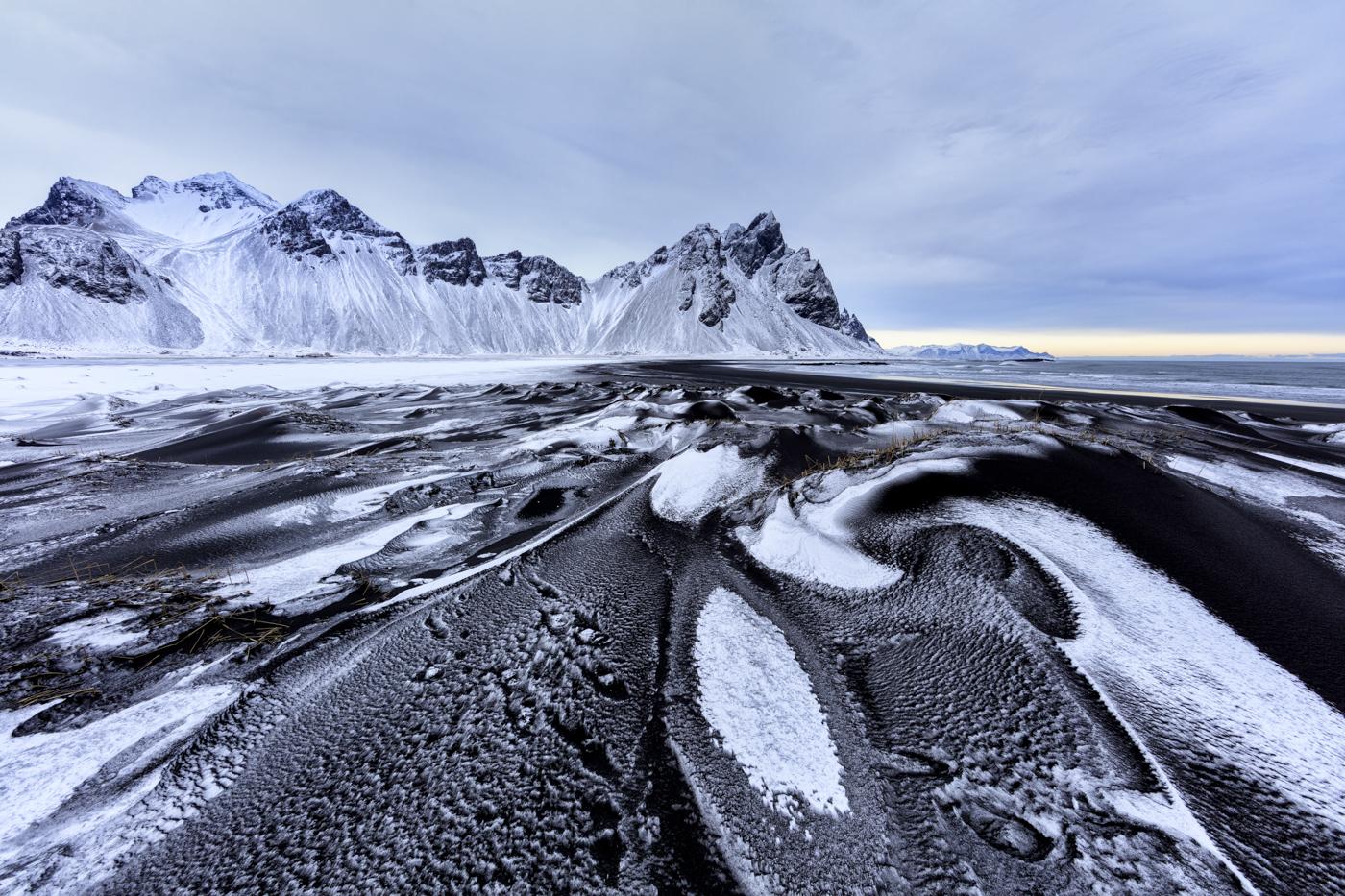 Vestrahorn, Stokksnes Peninsula, Iceland. Canon 5Ds, Canon 14mm f/2.8L, ISO 100, 1/15 sec at f/11, Tripod, © Mark Bauer