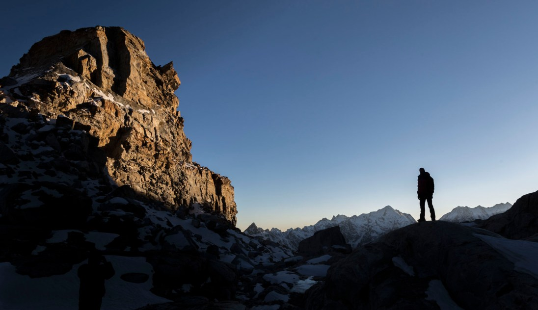 We had magnificent views from our high camp at 5500m. Once the sun went behind the mountains it turned instantly icy cold. Canon 5D MkIII, 24-105mm at 24mm, ISO 100, 1/100 sec at f/9. © Stuart Holmes.