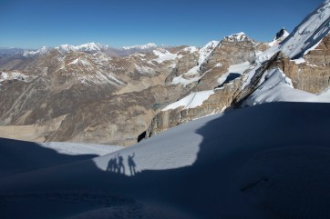 Our shadows as we look north from our high point at 6150m, out over Tibet. Canon 5D MkIII, 24-105mm at 24mm, ISO 100, 1/800 sec at f/6.3. © Stuart Holmes.