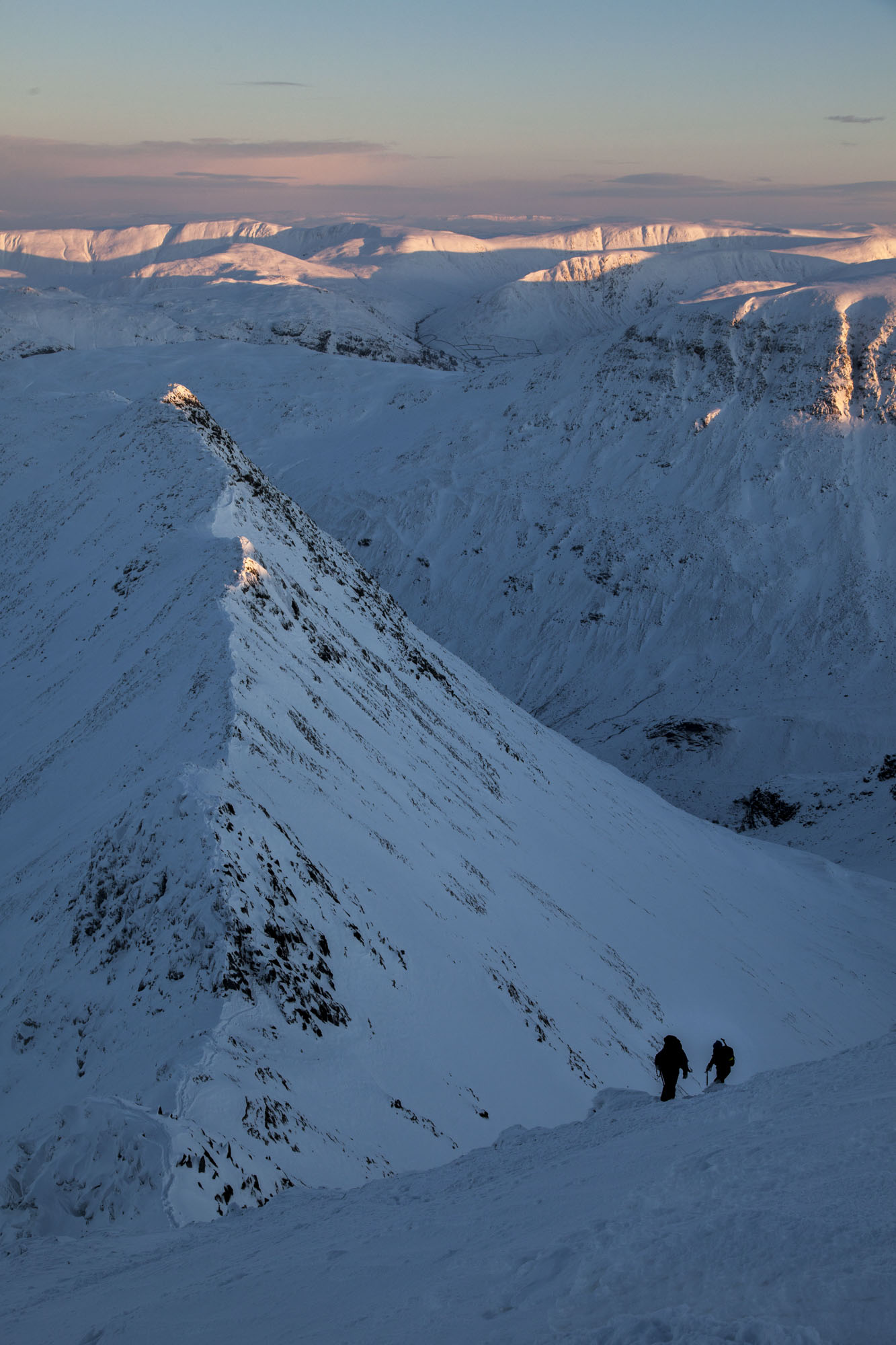 Climbers making a late ascent of Striding Edge on Helvellyn. Canon 5D MkII, 24-105mm at 45mm, ISO 200, 1/160 sec at f/9, January. © Stuart Holmes.