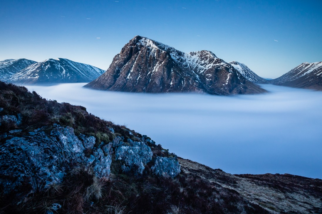 Pre-dawn inversion and the Buachaille. Canon 5D Mark III, 17-40mm f/4 at 17mm, ISO1250, 251 s at f/9, tripod. © Dougie Cunningham
