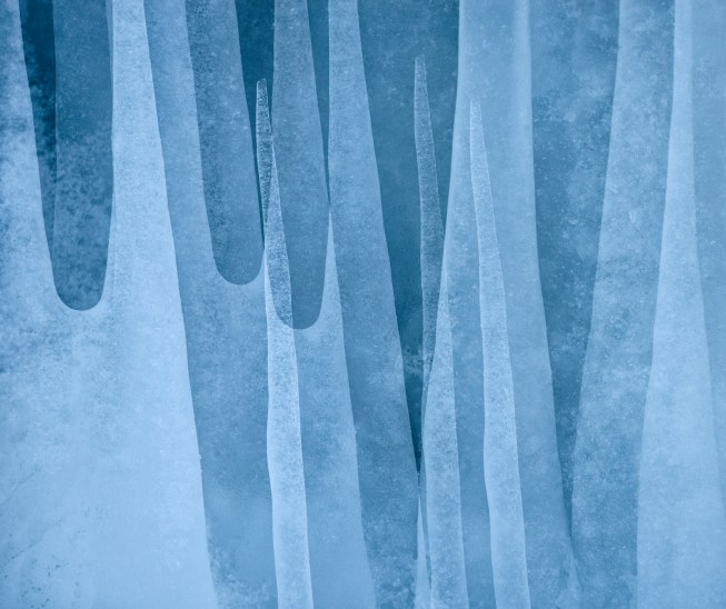 Icicles, Abisko. Nikon D800e, Nikon 70-200mm f4 at 122mm, ISO 800, 1/500s at f/7.1, handheld. Multiple exposure. March.© Lizzie Shepherd