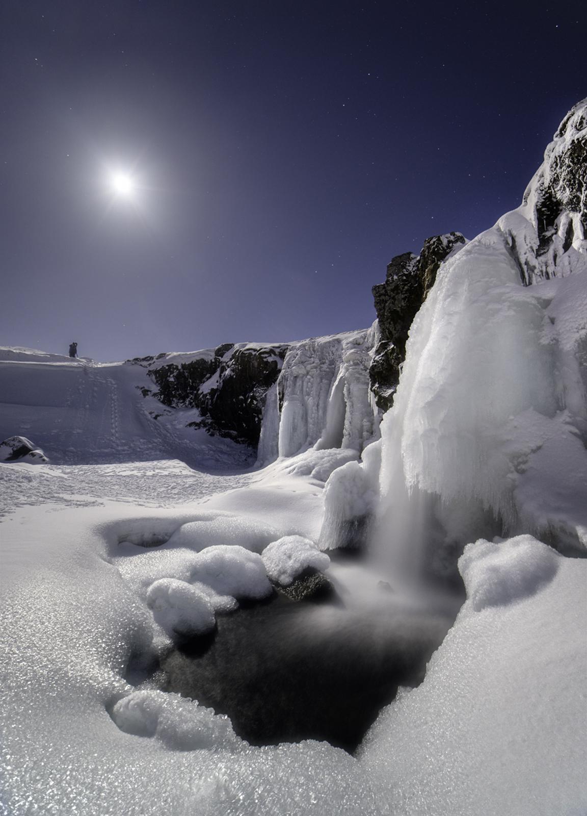 Moonlight Waterfall, Sony A7R, Samyang 14mm f/2.8 at 14mm, ISO 400 at 14mm 10s at f/2.8, tripod. Feburary. © Andrew Yu