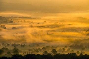 Hope church and fields from Mam Tor summit. © Mick Ryan