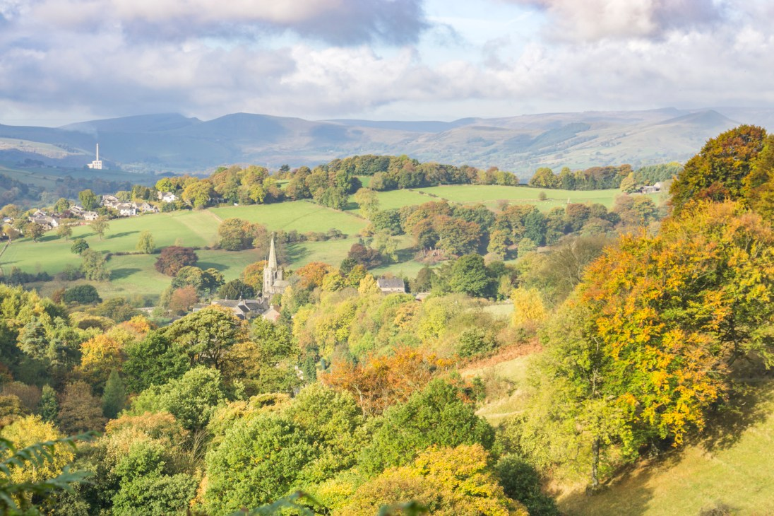 Looking over Hathersage to the Hope Valley, the cement works and Mam Tor. © Mick Ryan