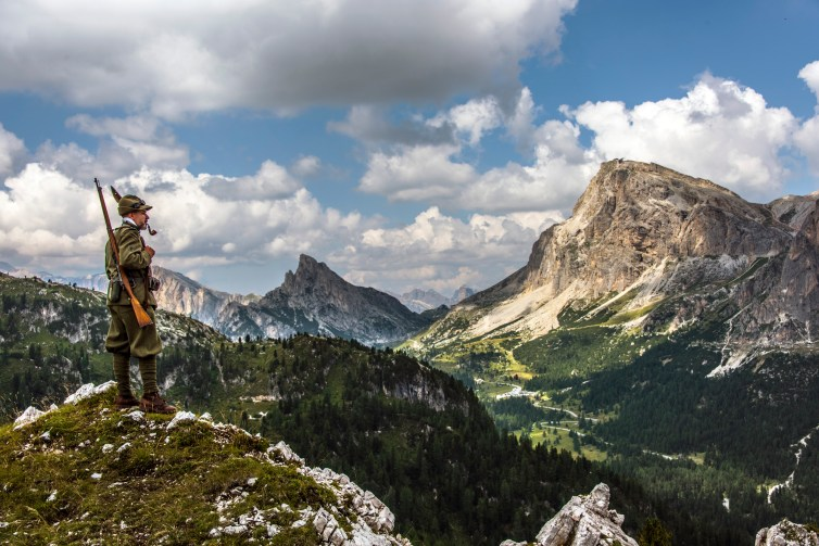 A soldier stands guard over the Passo Falzarego. Nikon D810, 28-300mm at 45mm, ISO 100, 1/320s at f/9, August. ©James Rushforth