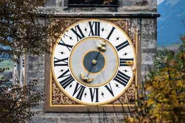 The clock face of Rainkirche church. Nikon D810, 80-400mm at 250mm, ISO 100, 1/250s at f/7.1, October. ©James Rushforth