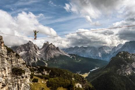 Battling strong winds at Monte Piana with views of the Cadini di Misurina. Nikon D810, 16-35 at 35mm, ISO 100, 1/320s at f/9, September.