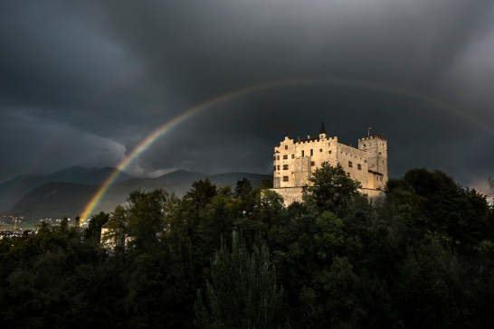 Stormy weather over Brunico castle. Nikon D810, 14-24mm at 20mm, ISO 100, 1/250s at f/8, May. ©James Rushforth