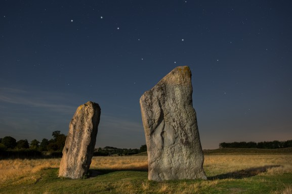 01 Avebury at night (August) UK16-643 Avebury by moonlight, Wiltshire