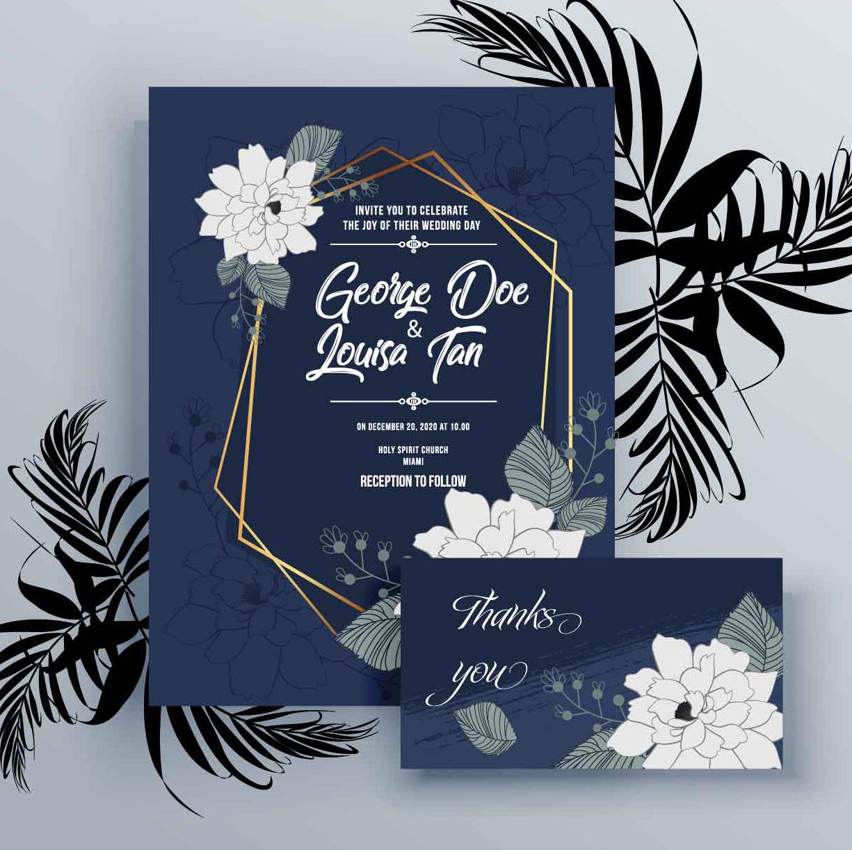 invitatie albastru clasic pantone pentru nunta