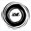 The Maelstrom, ship sinking - logo for audio story E A Poe and the Krautrock Connection