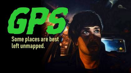 GPS horror audio story / Artwork by Brett Anthony Moore / Picture of man in car, surrounded by nightmarish images
