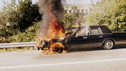 Photo of a car on fire / by Tim Pierce Wikipedia CC BY-SA 4.0