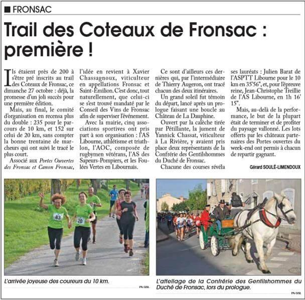 Article du Trail de Fronsac 2013