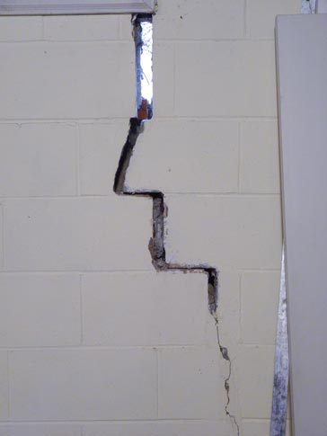 Interior Block Wall Stair Step Crack