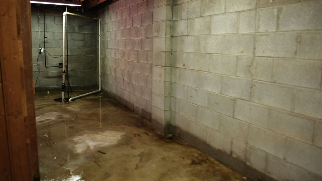 Flooded basement interior