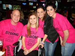 Miracle: Makenzie Wethington, a Texas teen who survied plunging 3,500 ft to the ground in skydiving accident, poses for a photo with her family about four weeks after the accident (Credit: Wethington family via Makenzie Prayer Page on Facebook)