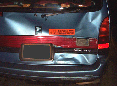 Funny Accident Picture : I Brake For Tailgaters Bumper Sticker