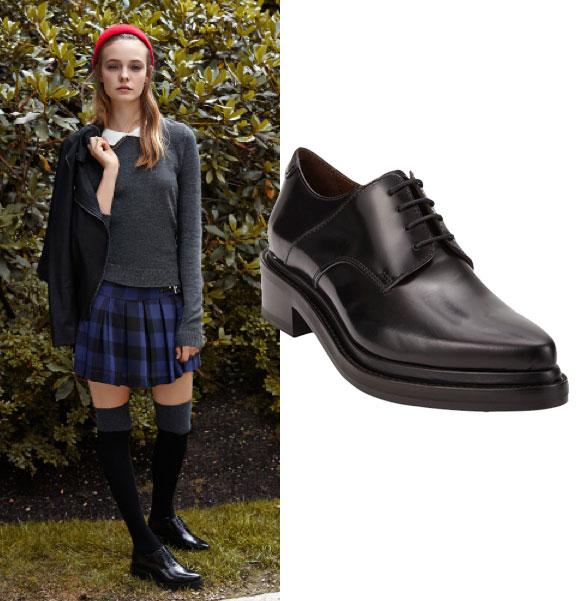over the knee socks, Acne oxfords, schoolgirl look