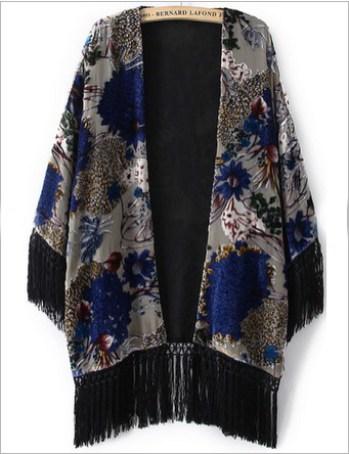 Sheinside Grey Long Sleeve Tassel Floral Pattern Kimono