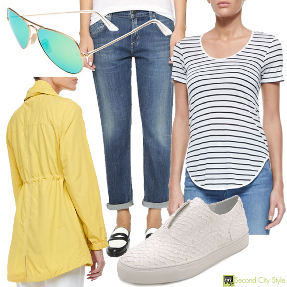 Summer Cookout Outfit, Citizens of Humanity, Ray-Bans, Vince Sneakers, rag & bone Tee, Eileen Fisher Jacket