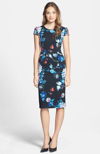 Betsey Johnson, Print Stretch, Midi Dress