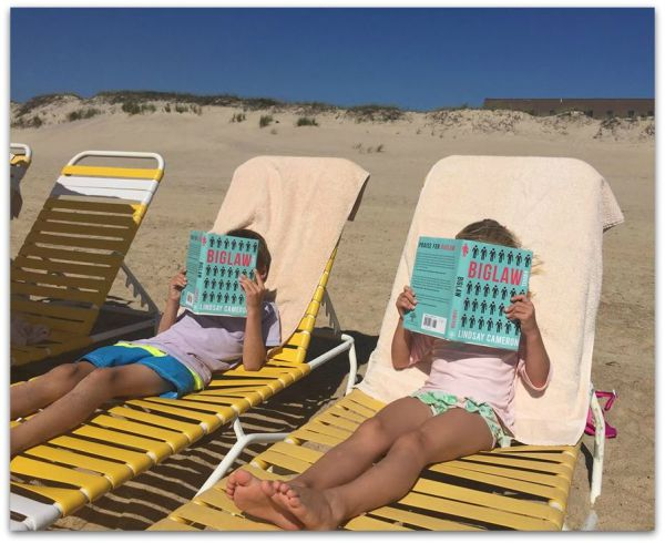 Lindsay Cameron's children doing some beach reading over Labor Day Weekend