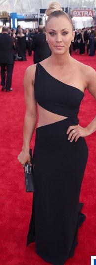 Kaley Cuoco in Black Romona Keveza Red Carpet SAGs 2016