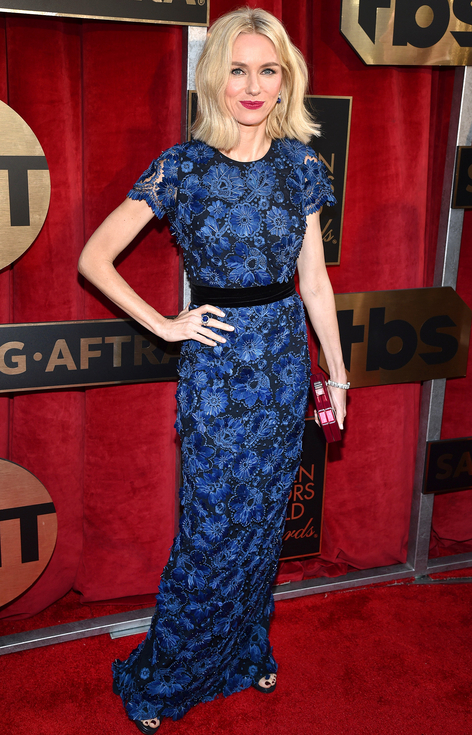 Naomi Watts in blue Burberry Gown SAGs 2016