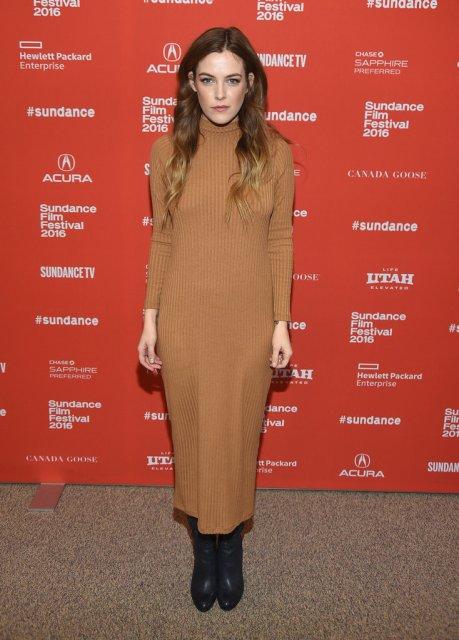 Riley Keough in ASOS turtleneck dress