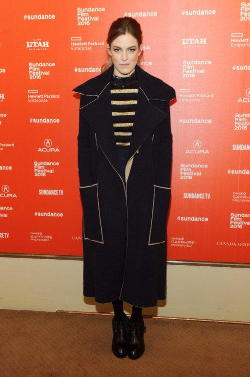 Riley Keough midi coat Sundance 2016 fashion