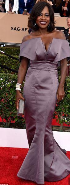 Viola Davis in Zac Posen Lavender Gownb SAGS 2016