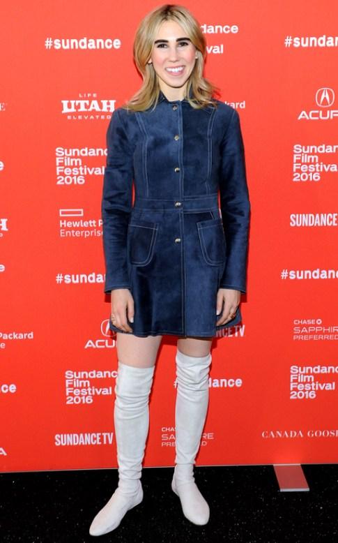 Zosia Mamet in blue suede mini coat Sundance 2016