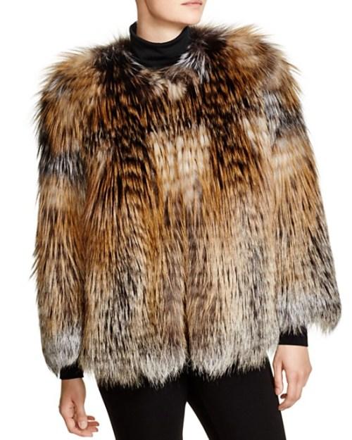 Maximilian Feathered Fox Fur Coat