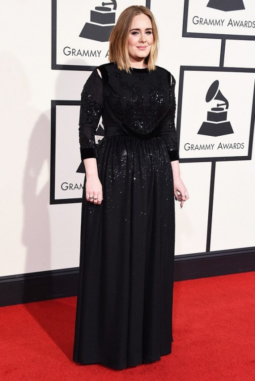 Adele in Black long sleeve Givenchy Gown Red Carpet