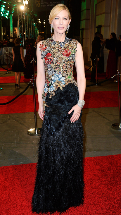 Cate Blanchett feather and embriodered Alexander McQueen